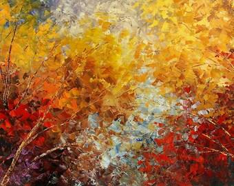 Original Forest Painting Palette Knife Landscape Art Handmade Birch Aspen Trees - by Tatiana Iliina - Made to order