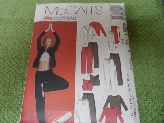 McCalls 4261 Spa Essentials Misses Work Out Clothes Size Lg-XLG