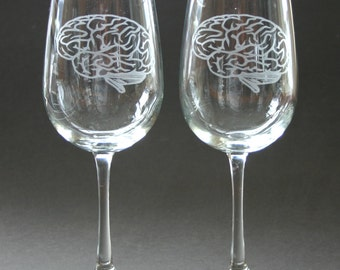 Brain Etched Wine Glasses Engraved Brain