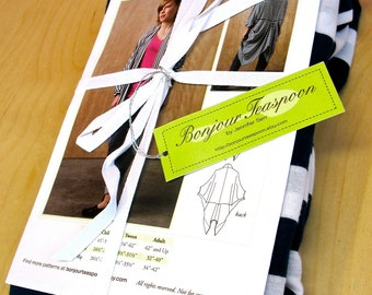 Women's jacket sewing pattern, women's knit sewing pattern, tween sewing pattern, kids sewing pattern, Blue & White Stripe Ava Lounge Jacket