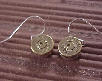 Sterling Silver Bullet Earrings Winchester 357 Magnum Brass Shell - Free Shippping to USA