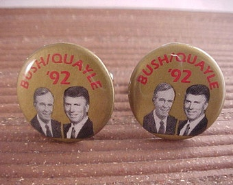 Bush Quayle Cuff Links - Vintage Political Campaign Buttons - Free Shipping to USA