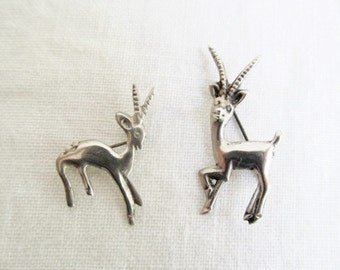 Pair Sterling Silver Antelope Pins Mother Child Prancing Dancing Having Fun! As only Antelopes Can