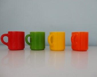 VINTAGE set of 4 MUGS - red green yellow orange