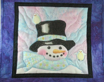Snowman Wall Hanging, Handpainted, Hand dyed fabric