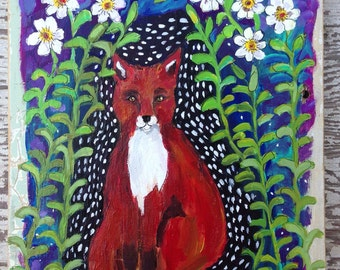 Woodland Fox Folk Art on Rustic Wood