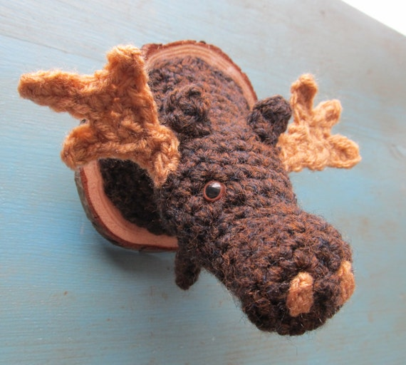 Faux moose head mount taxidermy crochet woodland by outofthedoor - Fake stuffed moose head ...
