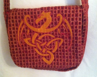 Red and gold crossbody messenger bag with Celtic Dragon
