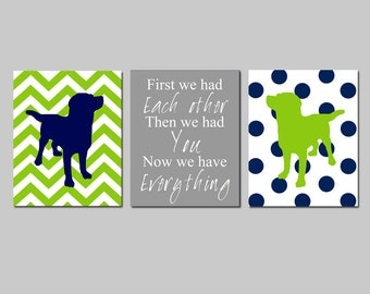 Puppy Dog Theme Nursery Decor Trio - First We Had Each Other Quote, Chevron Polka Dot Dogs - Set of Three 8x10 Prints - CHOOSE YOUR COLORS