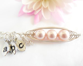 Pea Pod Necklace Three Peas in a Pod Peapod  Wire Wrapped with Pearls Customized with Initial Leaf Charms