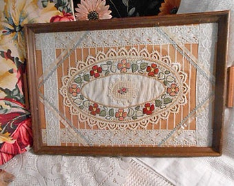 linen lace tea tray antique petit point rose center embr roses doily ribbons wood frame handles downton style fiber art beauty 13 x 19