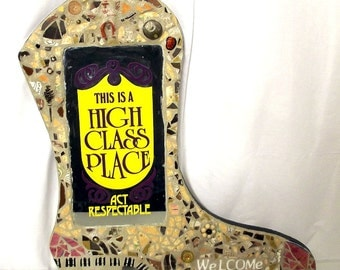 Western Saloon WELCOME cowboy boot found object sculpture sign - folk art mirror