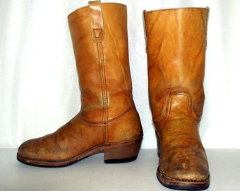 Mens 9 Cowboy Boots Vintage Landis Tan Distressed Campus Style Womens 10.5 Shoes