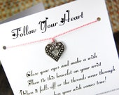 Follow Your Heart - Wish Bracelet - (All Heart) - Shown In The Color  PINK MIST- Over 100 Different Colors Are Also Available