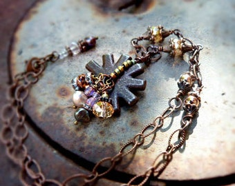 She's Gone Country - cowgirl spur necklace