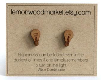 Light bulb earrings - alder laser cut wood earrings