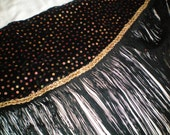 Black Velvet and Halographic Belly Dance Hip Sash with long Black Fringe, Steampunk, Cabaret, Tribal Fusion, Bohemian