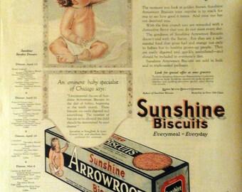 1923 Sunshine Biscuit Arrowroot Cracker ad Sweet Baby Artwork