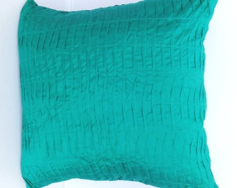 Mint dupioni silk pleated  pintuck pillow- 18 inch cushion cover only- 2 in stock