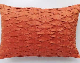 Burnt Orange pillow cover with Orange beads. Orange decorative pillow cover.  textured pillow 12X18 inch