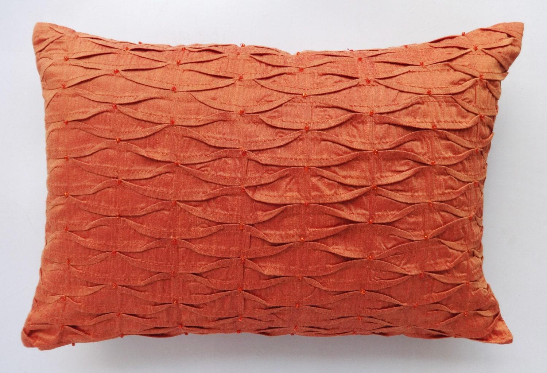 Burnt Orange pillow cover with Orange beads. Orange decorative