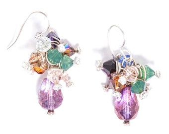 Fields of Lavender  Czech Glass and Swarovski Crystal Sterling Silver Wire Wrapped Earrings