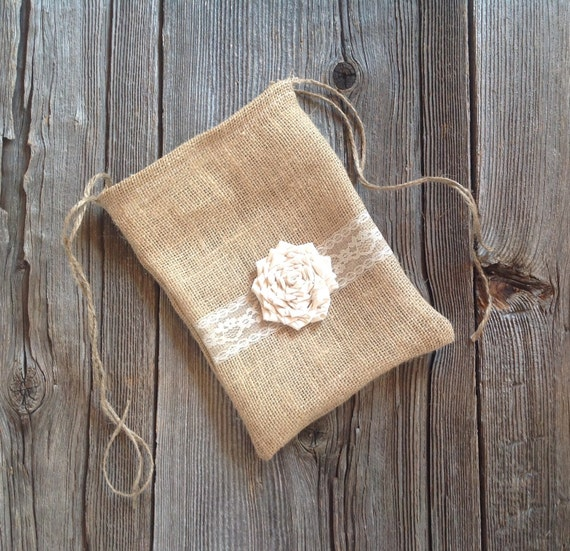 Dollar Dance Bag, Burlap Bag, Burlap Lace Wedding, Drawstring Bag, Bridal Gift, Rustic Wedding, Flower Girl, Ivory Wedding Bag