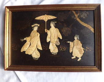 FREE SHIPPING vintage asian japanese geisha girls picture carved wood bone mother of pearl art (Vault 20)