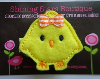Clips For Hair - Kids Hair Clips - Bright Yellow And Orange Embroidered Felt Easter Baby Chick Boutique Hair Clippie