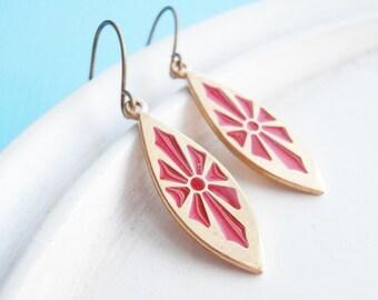 Metal Earrings - Enameled Red Sunburst Charm Earrings