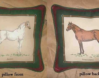 Final Markdown Sale...ARABIAN/THOROUGHBRED Horse Pillow...choose blue or green color