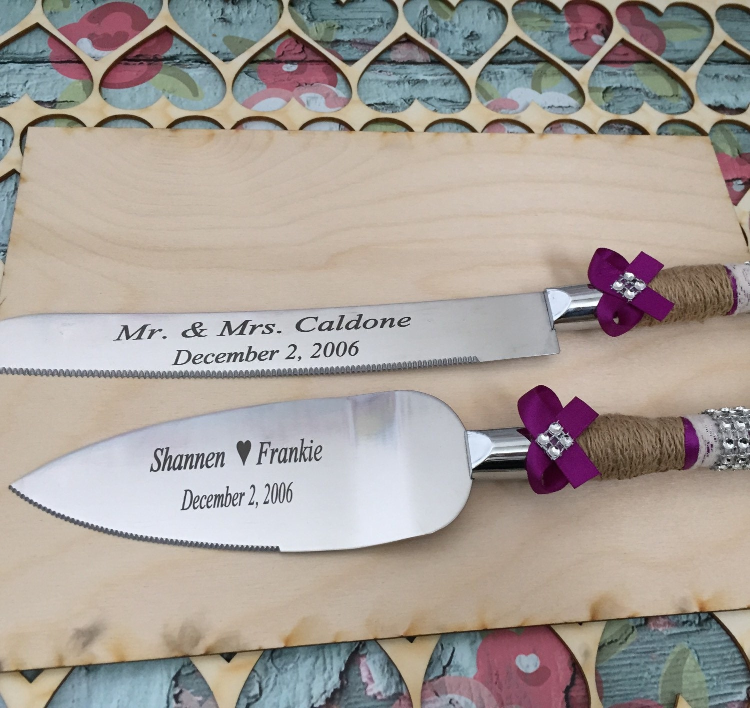 personalized wedding cake knife set burlap knife set cake. Black Bedroom Furniture Sets. Home Design Ideas