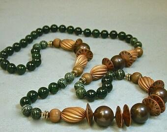 Vintage Nephrite Green Jade AAA Grade Bead Hand Knotted Necklace, Vintage Green Zebra Jasper, Vintage Copper Beads, Brass Beads
