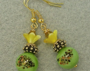 Vintage Japanese Millefiori Glass Bead Lime Green Black Flower Earrings, Vintage German Yellow Pressed Glass Flower Bead, Amber Crystal Bead