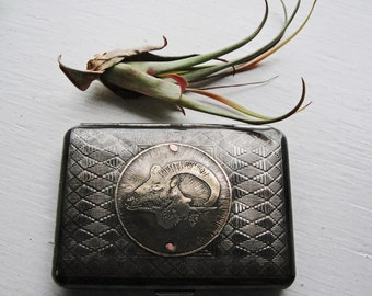 Ram Sheep Head Etched Wallet / Cigarette Case in Tribal Pattern