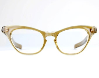 Large Translucent Smokey Brown Cat Eye Sun/eyeglasses Atomic Star Studs Frames NOS Vintage 1950s