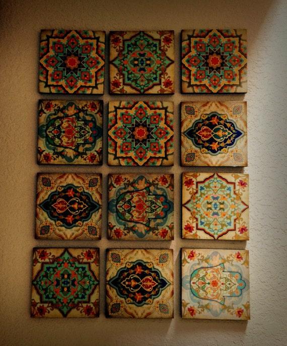 Spanish Wall Decor hamsa hand moroccan wall art set wall blocks 8x8 set of 12 spanish