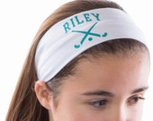Design Your Own Custom FIELD HOCKEY Cotton Stretch Headband - TIFFANY Font - Your Team Colors and Text