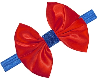 Snow White Inspired Sparkling Glitter Satin Bow Elastic Headband for Babies and Toddlers  -  HALLOWEEN COSTUME HEADBAND