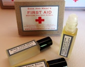 First Aid - Three aromatherapy oils - roll-on bottles - to help ease headaches, stress and insomnia