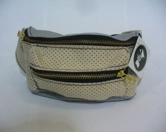 OOAK Perforated Silver/Cream Leather Fanny Pack