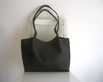 Dark Olive Green Leather Tote Shoulder Bag