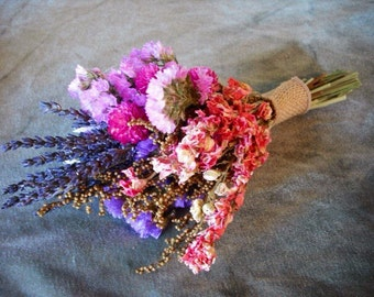Tiny dried flower bridal bouquet, perfect toss bouquet or for your bridesmaids. Featuring dried Lavender and Statice.