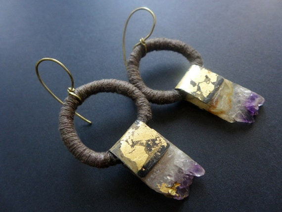 He'll Make You Shine. Amethyst slab and cotton cord with gold leafed tin earrings.