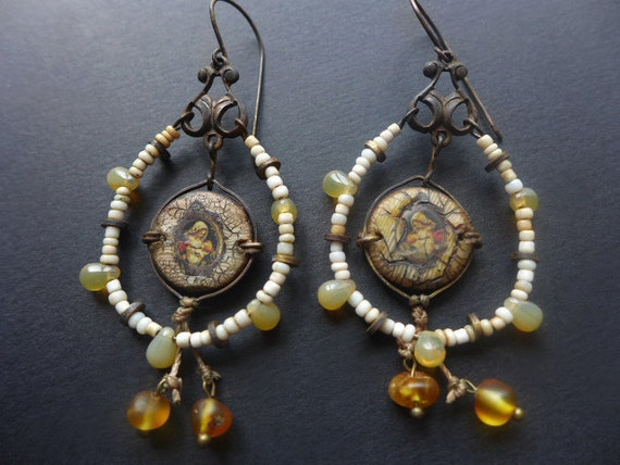 Ya'aburnee. Rustic assemblage earrings, Virgin Mary, cream and amber.