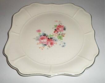 Vintage Rose Bouque Serving Plate - Mount Vernon - Decorative Serving Platter - Gold Trim - Universal Cambridge - Oven Proof - Made In USA