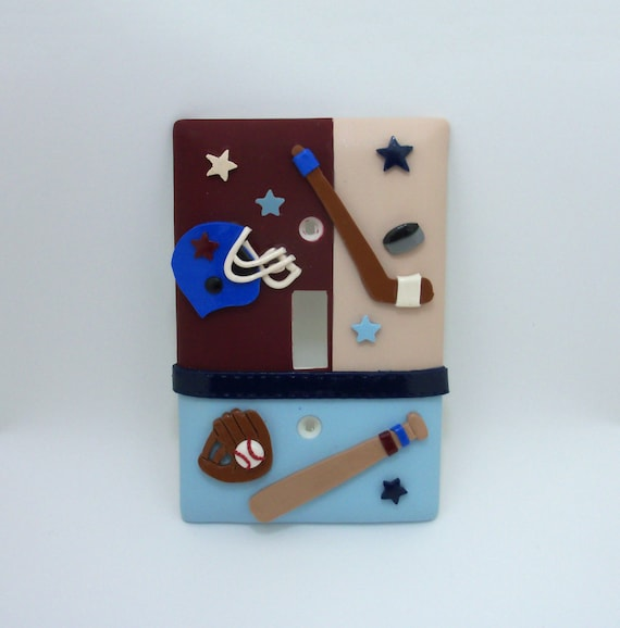 Sports Themed Light Switch Cover Or Outlet Cover Baseball