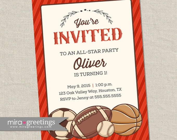 Vintage Sports Birthday Party Invitations - Baseball, Basketball, Football, Soccer Balls - vintage boy party invite (Printable Digital File)