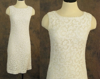 vintage 60s Dress - 1960s White Lace Wiggle Dress Sz S