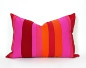 Vibrant Colorblock Pillow, Unique Eclectic Pillow Covers, CUSTOM FOR DS, Red Pink Orange, Color Band, Striped Cushion Covers, Oblong 14x20